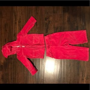 Circo girls 12 mos pink velour outfit